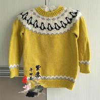 儿童棒针企鹅提花套头毛衣