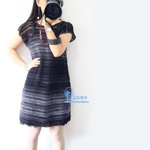 水墨 简单好钩段染线女士无袖连衣裙