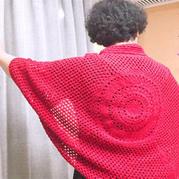 时尚女士钩针祖母方格披肩式开衫
