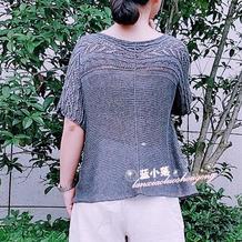 柏兰 真丝亚麻优雅宽松女士棒针镂空花横织衣