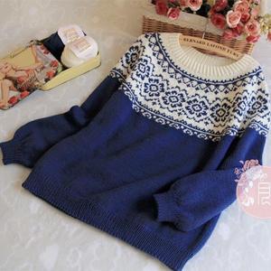青花词 青花瓷蓝白提花女士棒针长袖毛衣