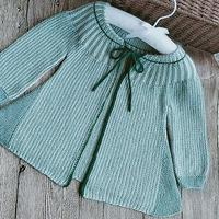 贝贝 横织宝宝棒针育克圆肩小开衫