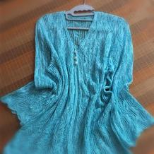 雨碎芭蕉 亚麻编织镂空花女士棒针中长款开衫