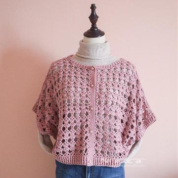 蔷薇 牦牛棉女士钩针蝙蝠袖休闲开衫