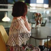 花未眠 云素麻棉女士钩针菠萝披肩