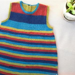 彩虹 全平针幼儿棒针条纹背心裙