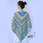 贵妇人 段染羊毛线编织经典女士钩针披肩