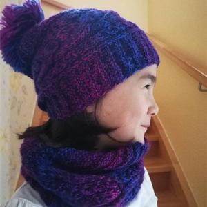适合新手编织的简单实用棒针帽子加围脖