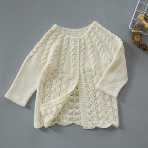 初秋宝宝外穿开衫 从上往下织儿童棒针育克毛衣