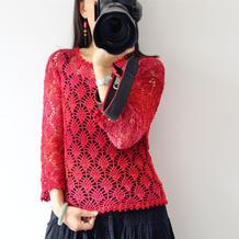 花间集 令织女挪不动步子的女士春秋钩针小菠萝花套衫