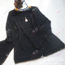 念之 从上往下织镂空花女士棒针微喇袖育克毛衣