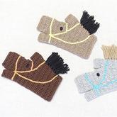 创意编织马形钩针无指手套编织图解