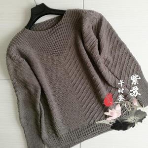 简洁大方从上往下织女士棒针套头毛衣