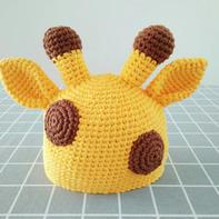 超可爱动物造型儿童钩针长颈鹿帽子