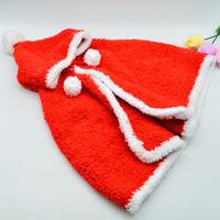 圣诞红 裘皮绒儿童棒针连帽斗篷