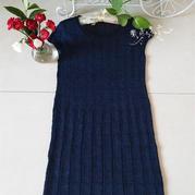 清风 藏蓝色女士棒针连肩小包袖格纹裙