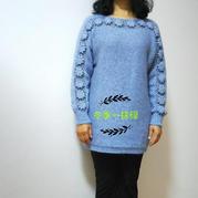优雅镂空衣 钩织结合女士横织长袖套头毛衣