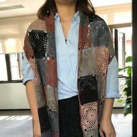即好钩又可以有多种穿法的气质型女士钩织结合羊绒披肩开衫