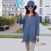 听风起 仿Tanja Steinbach设计的女士棒针宽松直版套衫