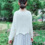 白落兮 云素麻棉仿淘宝款女士棒针花瓣边套头毛衣