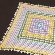 简单好织的4股棉钩针彩虹毯