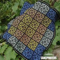 炎夏的片段 突尼斯窗花钩针拼花毯编织图解