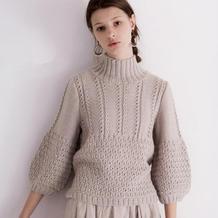 实用美丽复古风女士棒针灯笼袖中高领毛衣