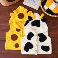 长颈鹿奶牛小植物马甲(2-1)儿童钩针连帽马甲背心编织视频教程