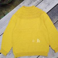 简单大方云朗从上往下织儿童棒针长袖毛衣