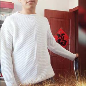 给家里少年仿织的毛衣 男款棒针圆领毛衣