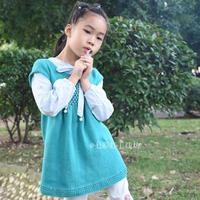 童真 简洁大方棉羊绒儿童棒针裙式背心
