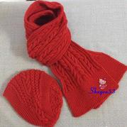 3+1温暖这个冬天 别具一格温暖有爱棒针围巾帽子套装