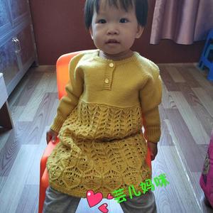 黄叶 女童棒针叶子花领开扣长袖连衣裙