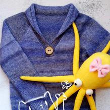 小绅士 简单好织好看男童棒针青果领套头毛衣