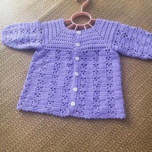 紫苏 从上往下编织女宝宝钩针开衫