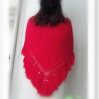 红颜 云棉钩机结合女士三角流苏披肩