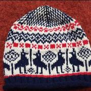 红白蓝三色编织儿童棒针北欧风提花帽子