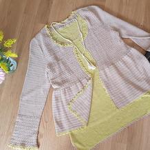 法式优雅 小香风女士钩针背心开衫两件套