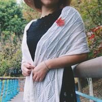钩机结合女士白色羊绒披肩 兄弟868编织机作品