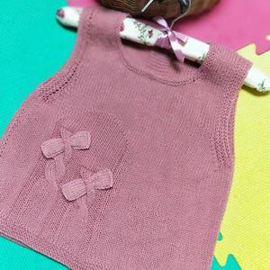 花仙子 繁复适用儿童蝴蝶结棒针背心