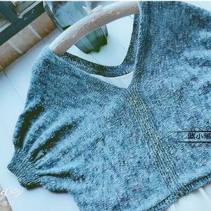 千百度 横织女士棒针V领泡泡中袖毛衣