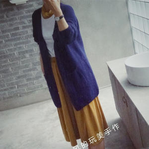 锦觅 经典棒针渔网针宽松茧形长款开衫外套