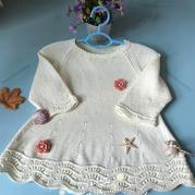 云乐 可爱实用云棉儿童棒针裙式毛衣
