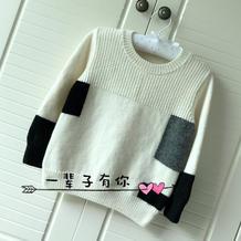 浩然 拼色儿童棒针圆领羊毛衫