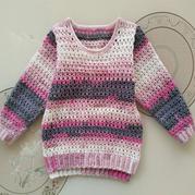 童趣 云朵段染儿童钩针长袖圆领毛衣