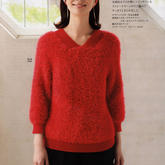 织法超简单的女士棒针V领直袖套头毛衣
