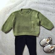 秋绿 时尚简约美丽诺2-3岁儿童棒针毛衣