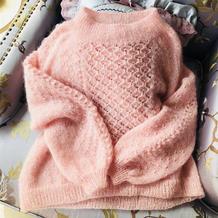 粉粉少女心 从下往上织女士棒针育克马海毛衣
