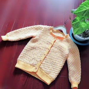 暖菊 织20年的小菊花样棒针儿童长袖开衫毛衣