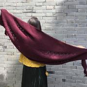 风调雨顺/雨季不再来 实用好织女士棒针酒红色披肩